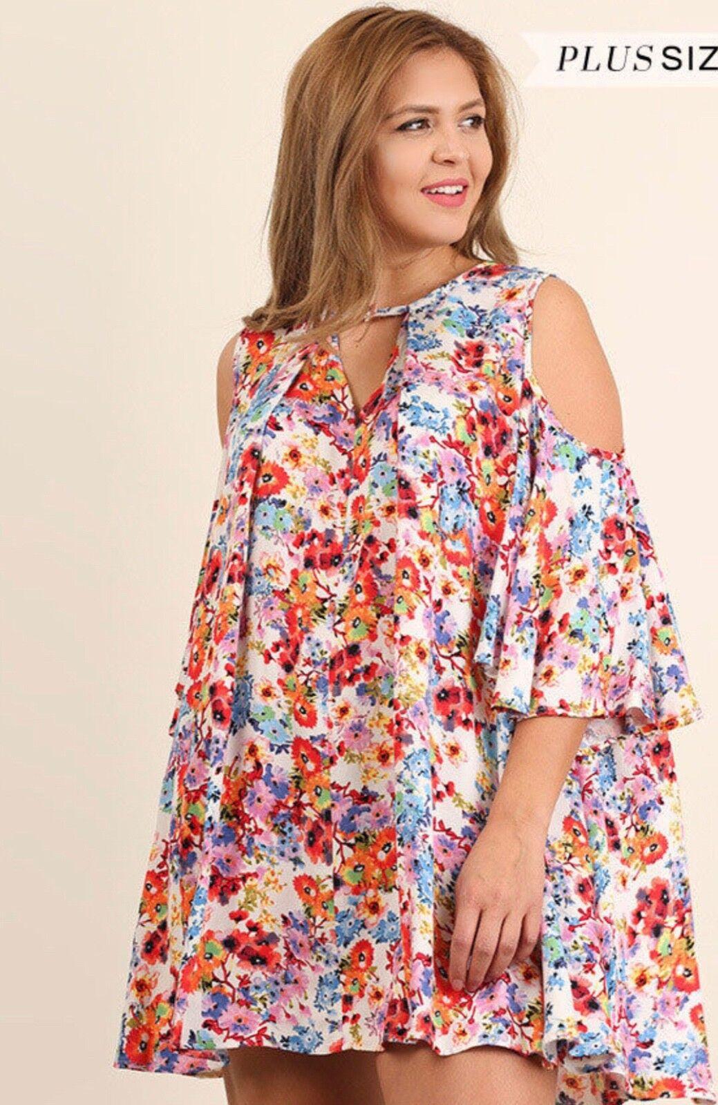 Nouveau Umgee Boho ouvert épaule Floral Avec Dos En Trou De Serrure Robe Tunique Plus XL