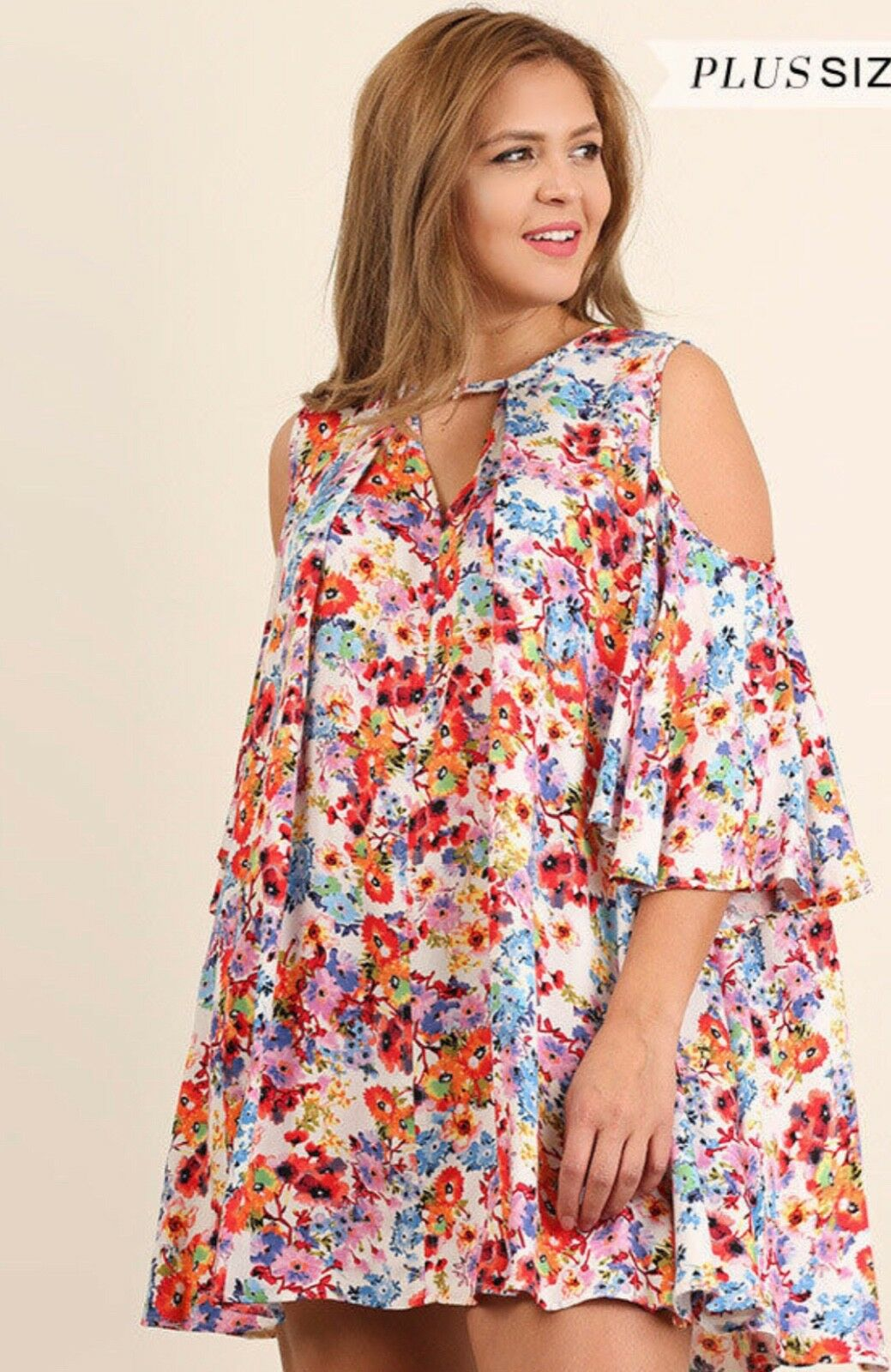 New Umgee Boho Open Shoulder Floral Keyhole Back Dress Tunic Top Plus 1XL 1X