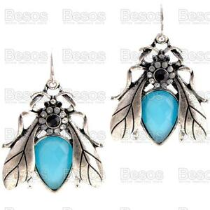 BIG-BEE-blue-faceted-ANTIQUE-SILVER-FASHION-EARRINGS-retro-statement-GIFT-UK