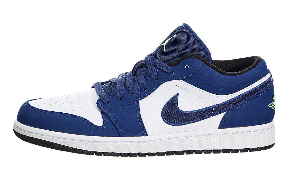 Size 10.5 Nike Air Jordan 1 Low Top Retro Shoes Blue Green Black Retro Top 553558-405 NIB 797500
