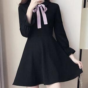 Korean-Womens-Knot-Long-Sleeve-A-Line-Short-Doll-Collar-Dress-Plus-Size-Black