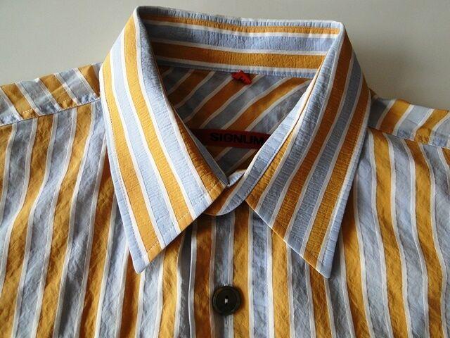 Signum Herren Hemd Kurzarm Braun Gestreift Baumwolle Gr. M TOP     | Schöne Farbe  | Neuer Eintrag  | Sonderangebot