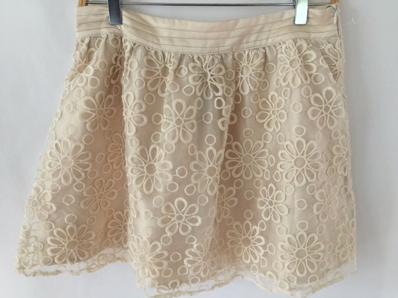 NWT Mod Cloth Alice Moon Collection Los Angeles Cream Lace Flowers Skirt - Large