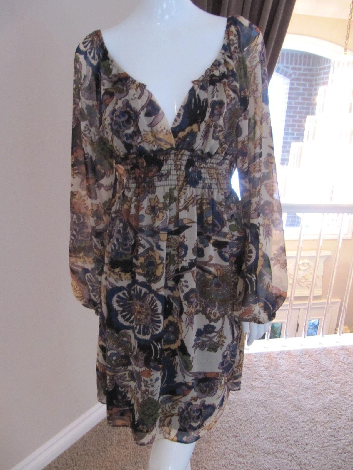 Boston Proper  Floral Paisley Peasant Boho Long Sleeved Dress Size Small  129