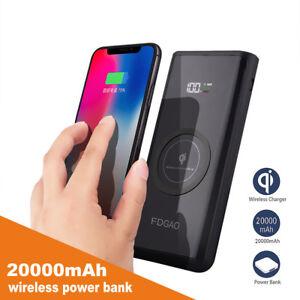20000mAh-Powerbank-Qi-Wireless-Ladegeraet-2USB-fuer-iPhone-8-X-XS-XR-Samsung-S9-S8