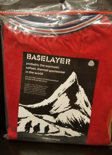 BASELAYER by Davie Mason Nottingham England 100/% Merino Wool Pants Size M//L Red