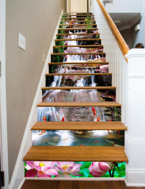 3D Fish Rivulet Stair Risers Decoration Photo Mural Vinyl Decal Wallpaper CA