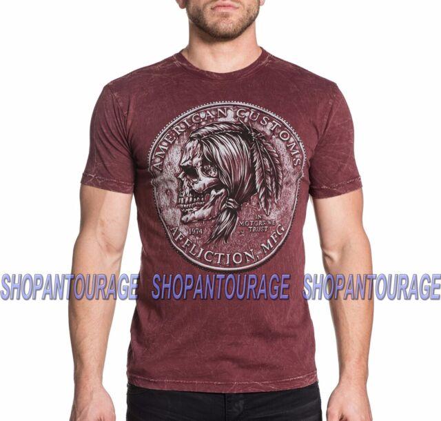 AFFLICTION Coin Toss Chalkboard A16831 New Men`s Blood Red T-shirt