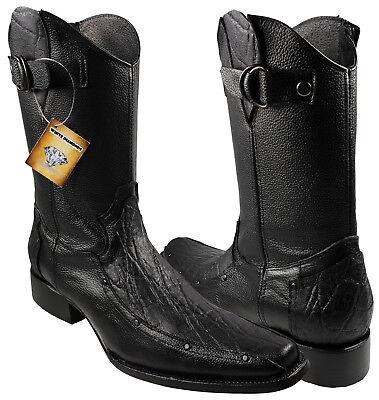 304e5ee19cc Men's White Diamonds Boots Elephant Print Cowboy Boots Color Black ...