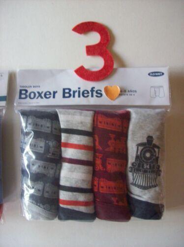 Old Navy Underwear Underpants Boy 4 Boxer Briefs Pk 2T-3T 4T 5Toddler Trains NIP