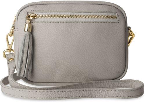 kleine universale Damentasche Schultertasche Umhängetasche Naturleder grau