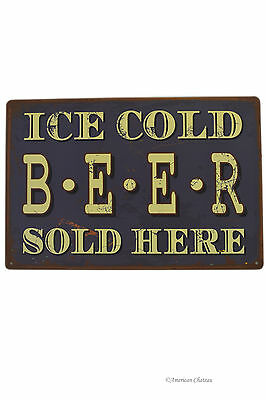"Retro 12"" Vintage-Style ""Ice Cold Beer Sold Here"" Bar Metal Wall Sign Plaque"