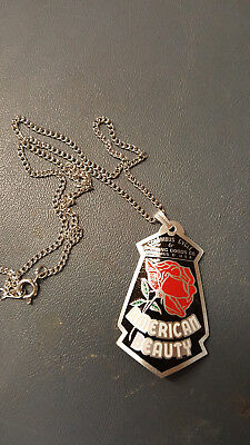 American Beauty Mini Bicycle Badge Necklace 1940s - 1950s ACID ETCHED Aluminum