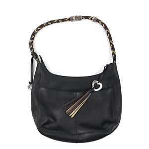 BRIGHTON-Womens-Barbados-Black-Brown-Leather-Braided-Handle-Hobo-Purse-Handbag