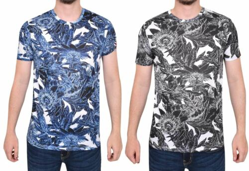Juice Men T Shirt Flower Printed Short Sleeve Summer Casual Shirt Tee Top XS-M