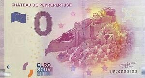 BILLET-0-EURO-CHATEAU-DE-PEYREPERTUSE-FRANCE-2017-NUMERO-100