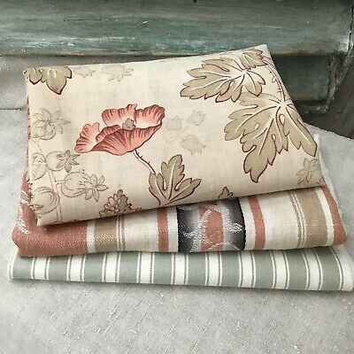 Bundle 3 Antique Vintage French Floral and Ticking Pieces 4 Projects