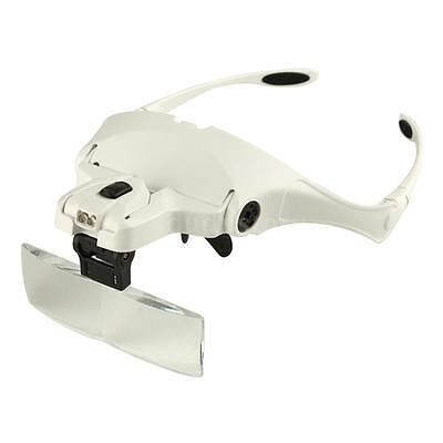 Headband LED Head Lamp Light Jeweler Magnifier Magnifying Glass Loupe DU D27C