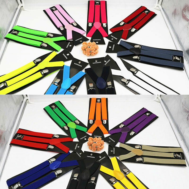 Erwachsene Solid Gurt Clip Dehnbar Hosenträger Krawatte Anzug Fliege Glatt
