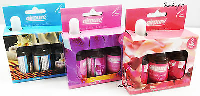 3X AIRPURE FRAGRANCE OIL FOR OIL BURNER  AROMATHERAPY  SCENT HOME INCL. PIPETTE