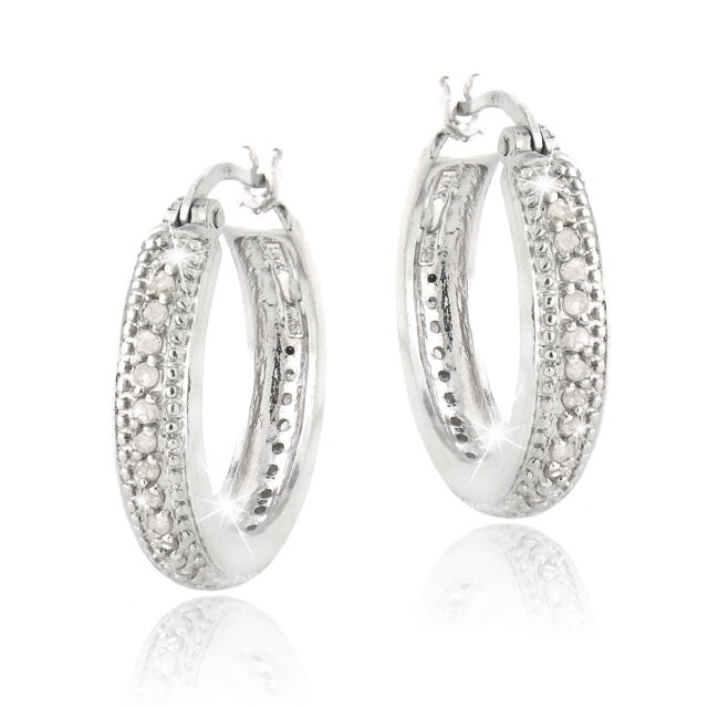 0.50ct. TDW Diamond 20mm Hoop Earrings in Brass