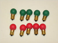 Lionel Trains Light Bulbs Red & Green 432 Screw Base 18 Volt - 10 Pcs