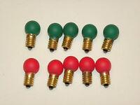 Lionel Trains Light Bulbs Red & Green 432 Screw Base 18 Volt - 10 Pcs