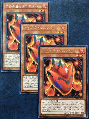 YuGiOh Japanese 3x Achichi @Ignister IGAS-JP004 Rare Ignition Assault OCG