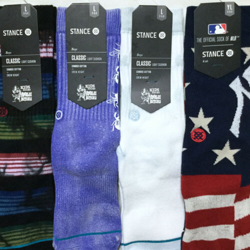 Stance Boys Crew Socks Large 2-5.5 Novelty Arch Support Athletic Ribbed