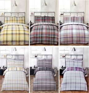 Duvet cover bedding set pillowcase reversible tartan check quilt cover checked ebay - Housse de couette tartan ...