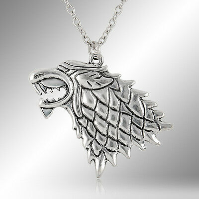 Game of Thrones House of Stark Winter Wolf Fire Direwolf Pendant Necklace Retro