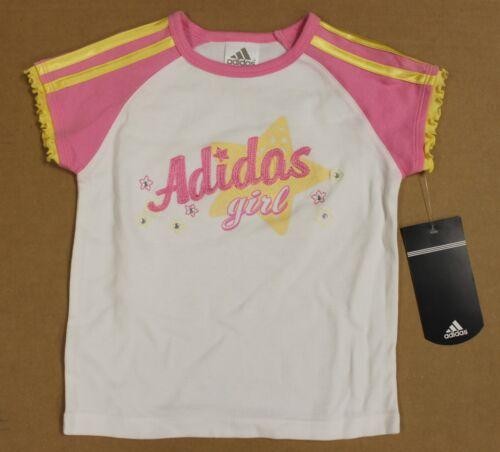"Size 5 Toddler /""Adidas Girl/"" Pink /& Yellow Rhinestone Ruffle Sleeve T-Shirt"