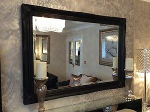 Large Black Shabby Chic Framed Ornate Overmantle Wall