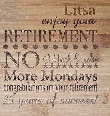 Personalized Bamboo Cutting Board Retirement Employee Boss Company Friend Gift