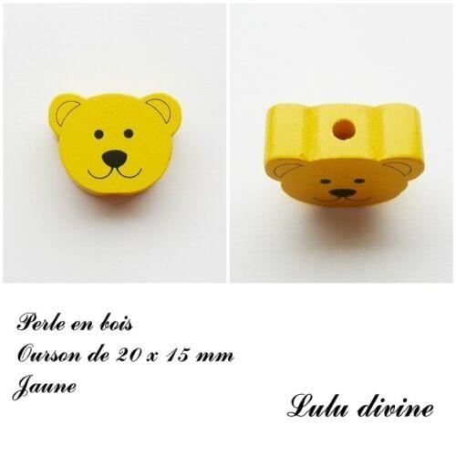 Perle plate Tête d/'ourson Perle en bois de 20 x 15 mm Jaune