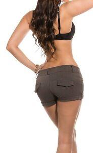Sexy-Ladies-Pants-Fabric-Shorty-Braun-Business-Shorts-32-34-36-38-40-42