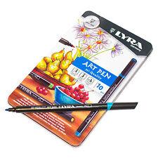 Tin 10 x Lyra Fine Assorted Colour Hi-Quality Art Pens Sketching Artist Felt Tip
