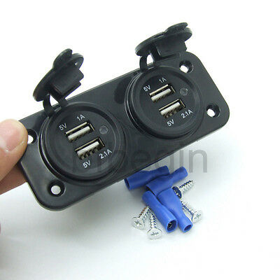 Car Boat Motorcycle Waterproof 4 Port USB Power Socket Adapter Charger Phone GPS