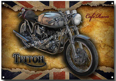 GRUMPY OLD TRITON CAFE RACER OWNER LIVES HERE FINISH METAL SIGN.