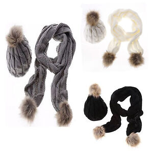 Ladies-Woolly-Thick-Knit-Hat-Scarf-Pom-Pom-Women-039-s-Scarf-and-Hat-Set-Vincenza-UK