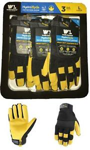 HydraHyde-Leather-Work-Gloves-3-Pairs-Job-Site-NEW-Value-Pack-Choose-Size