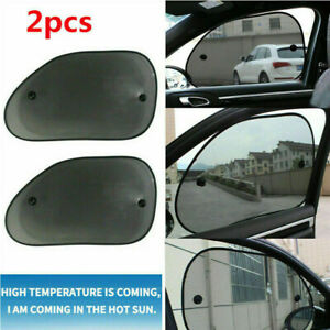 2 Pcs Nylon Mesh Foldable Front Rear Side Window Sun Shade Screen Shield for Car