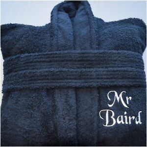 236343081f Image is loading Personalised-Bath-Robe-Navy-Blue-Terry-Towelling-Bathrobe-