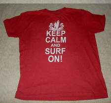 Mens Keep Calm And Surf On Red Tee T Shirt Size L Large Surfer Beach Hawaii