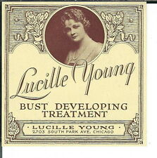 AV-015- Lucille Young Bust Developing Treatment Vintage Jar Label 3x3 inch 1930s