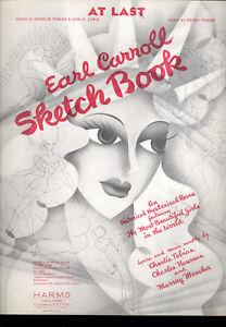 """Antiquarische Noten/songbooks Energisch Earl Carroll Skizzenbuch Broadway Show Notenblatt """" At Last """" Dauerhaft Im Einsatz"""
