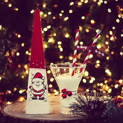 HANDMADE CHRISTMAS DECORATED PAINTED CANDLES CYLINDER PYRAMID BALL PILLAR CANDLE