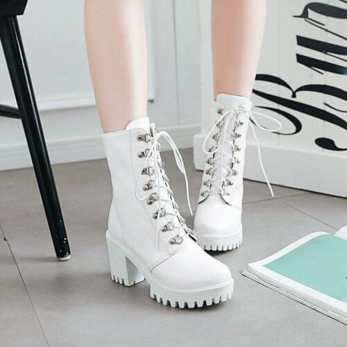 Punk Womens Leather Gothic Lace Up Riding Combat Chunky Heels Ankle Boots Shoes