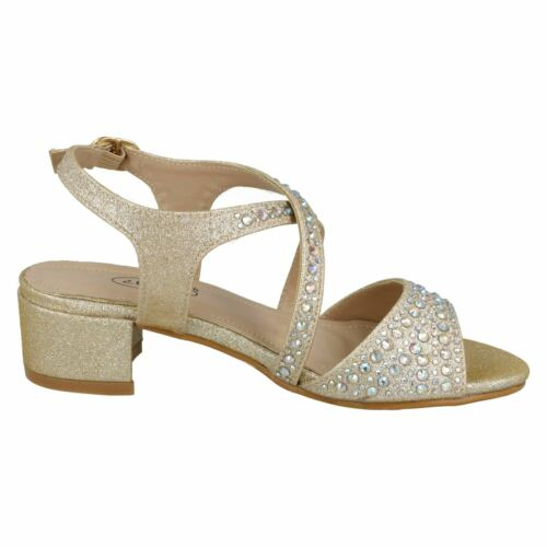 Details about  /GIRLS SPOT ON SPARKLE SANDALS H1105 UK 11 UK 3 SILVER OR CHAMPAGNE