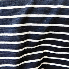 Vintage tubular knit dress fabric STRIPED sailor suit navy blue by the metre